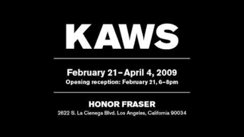 KAWS opening at Honor Fraser, Saturday, Feb 21