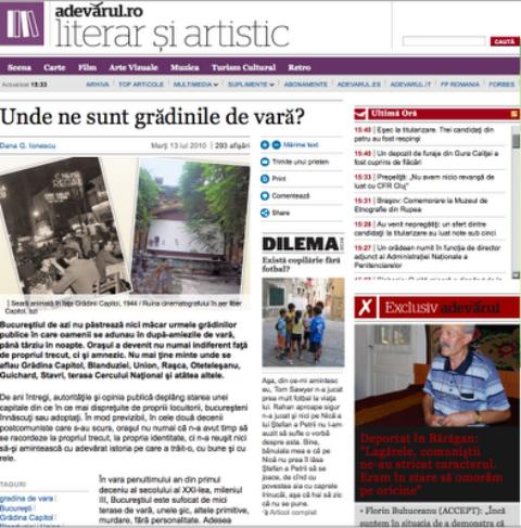 Teatrul de vara CAPITOL MMIX / © Save or Cancel – in ziarul Adevarul